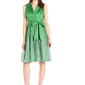 Anne Klein Garden Green Optic White Women's Dress